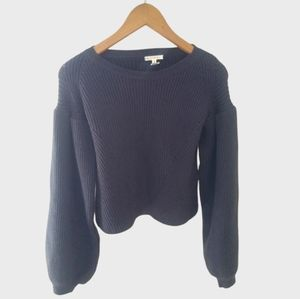 New Maisie Peter Bishop Sleeve Ribbed Cropped Swea
